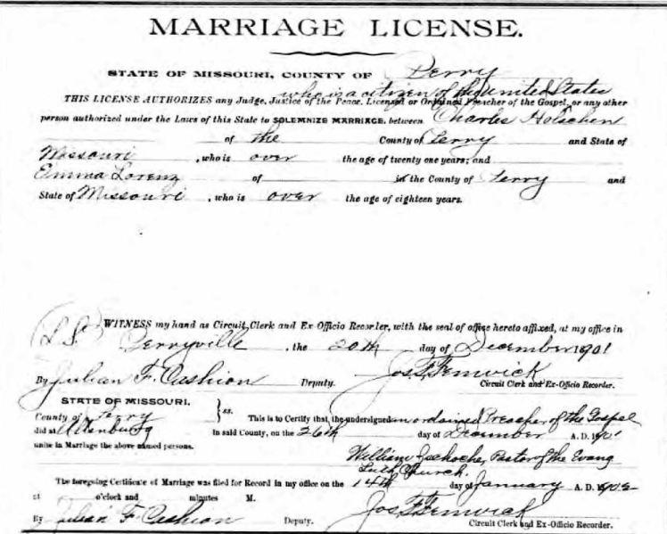 Holschen Lorenz marriage license