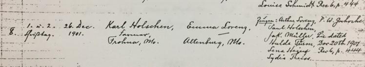 Holschen Lorenz marriage record Trinity Altenburg MO