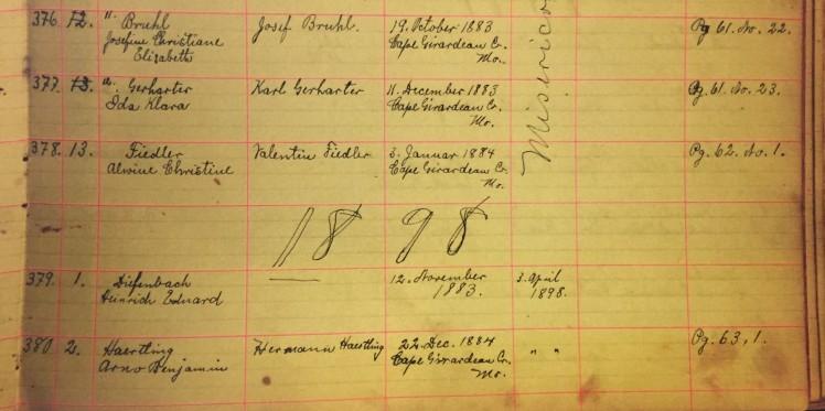 Ida Gerharter Arno Haertling confirmation records Immanuel New Wells MO