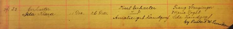 Ida Gerharter baptism record Immanuel New Wells MO