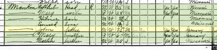 Johann Mahnken 1920 census Salem Township MO