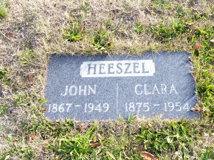 John and Clara Heeszel gravestone Evergreen Oakland CA