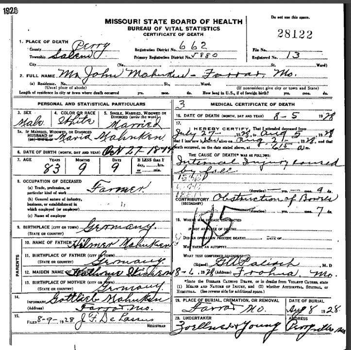 John Mahnken death certificate