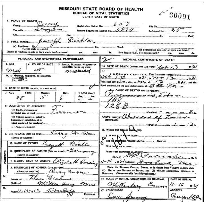 Joseph Richter death certificate