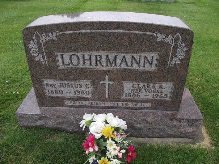 Justus and Clara Lohrmann gravestone Immanuel Okawville IL