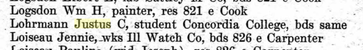 Justus Lohrmann 1902 city directory Springfield IL