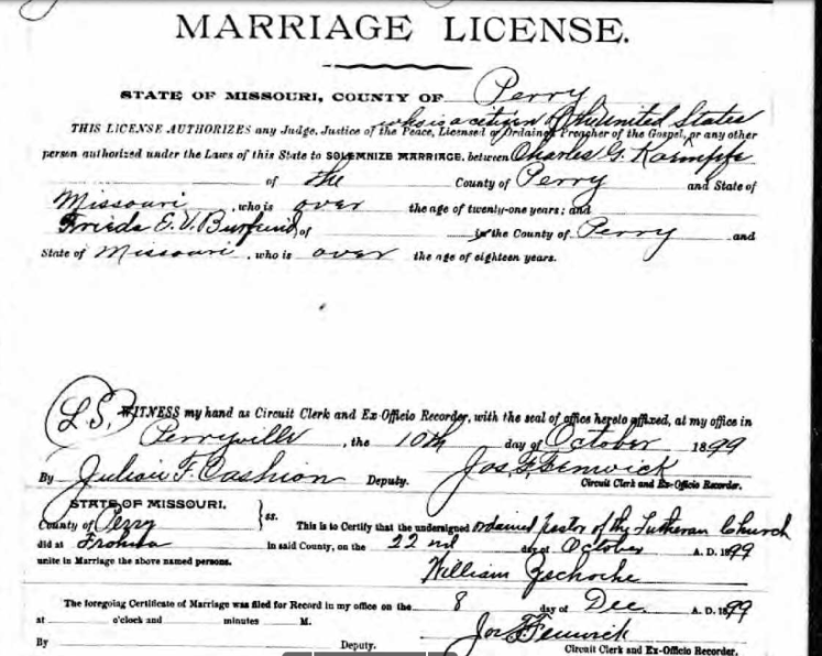 Kaempfe Burfeind marriage license