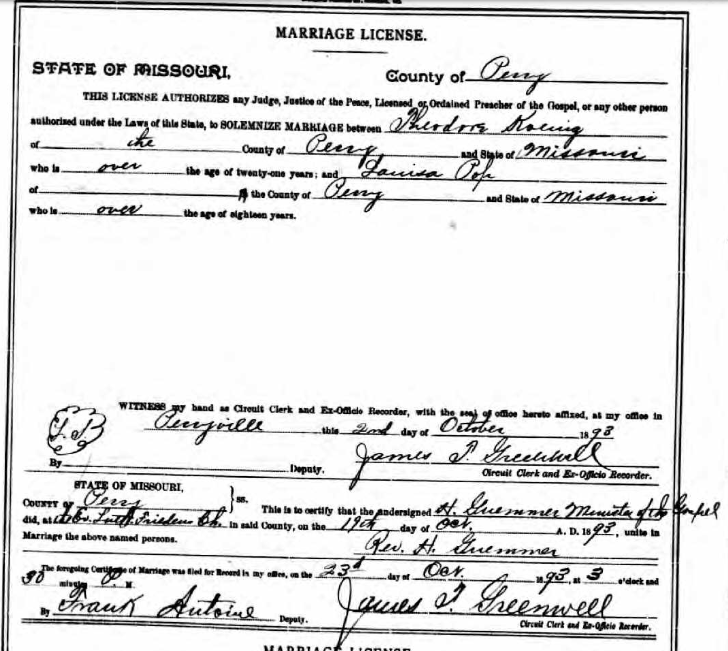 Koenig Popp marriage license