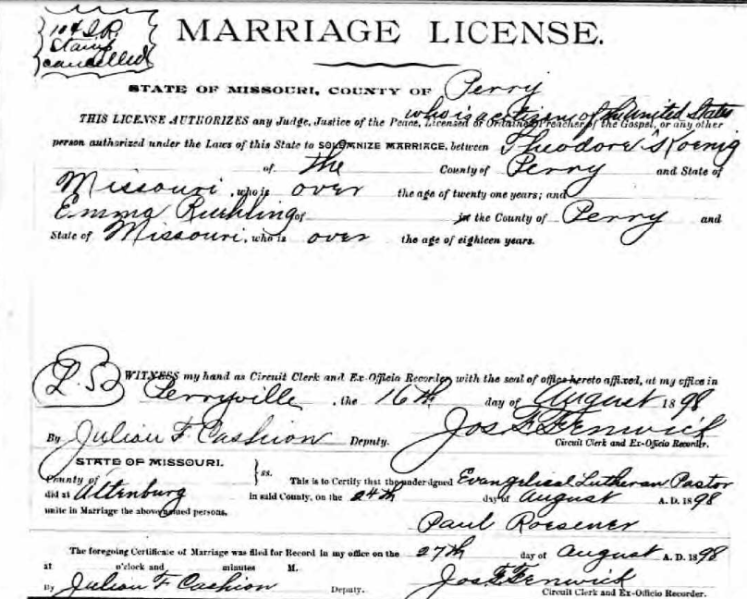 Koenig Ruehling marriage license