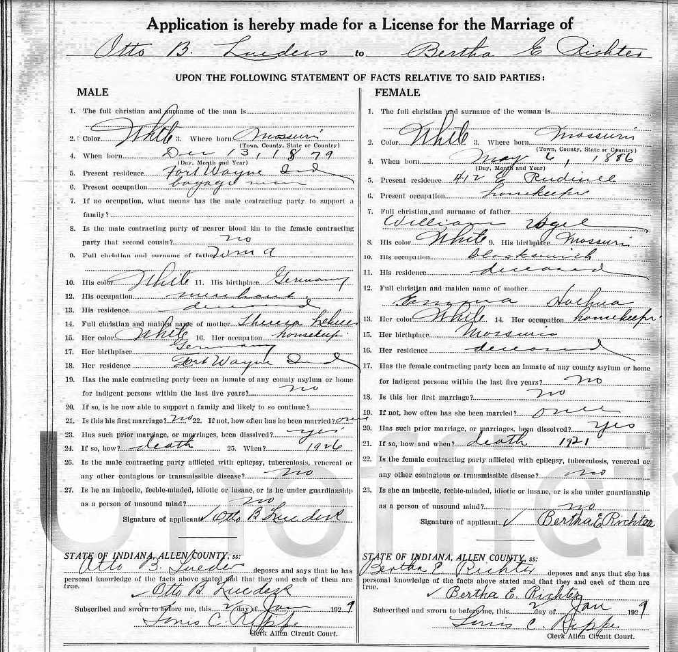 Lueders Richter Indiana marriage license