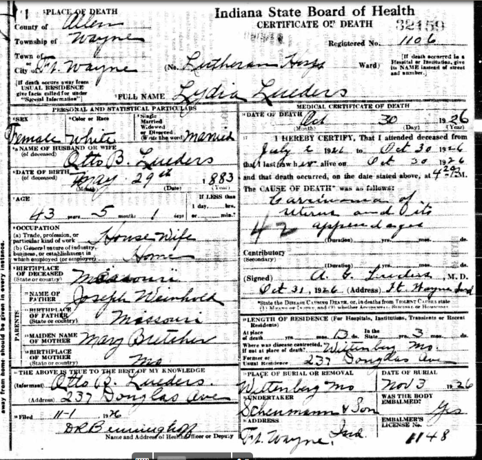 Lydia Lueders death certificate