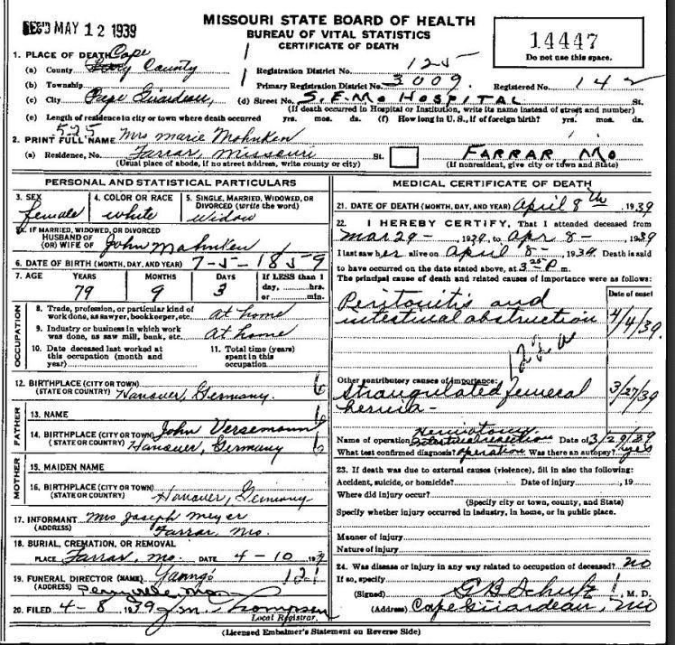 Maria Mahnken death certificate