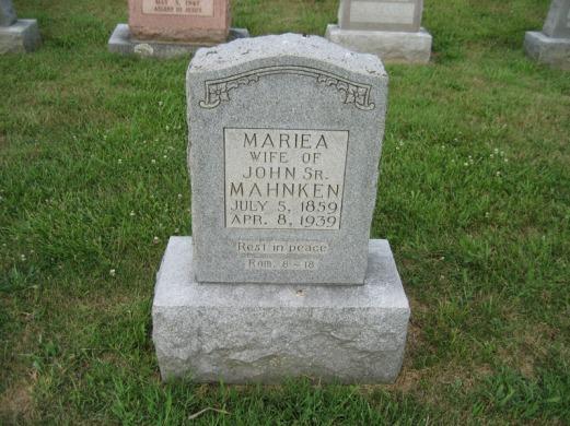 Marie Mahnken gravestone Salem Farrar MO