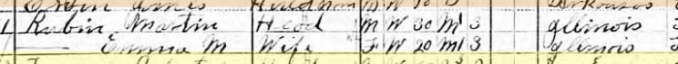 Martin Rubin 1910 censu Pawnee OK