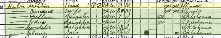 Martin Rubin 1920 census Afton OK
