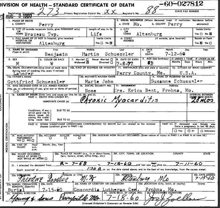Martin Schuessler death certificate
