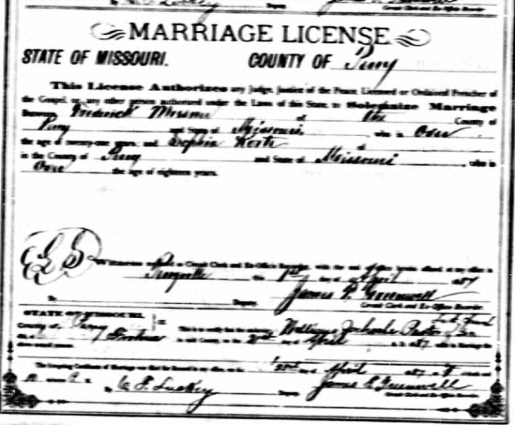 Miesner Korte marriage license