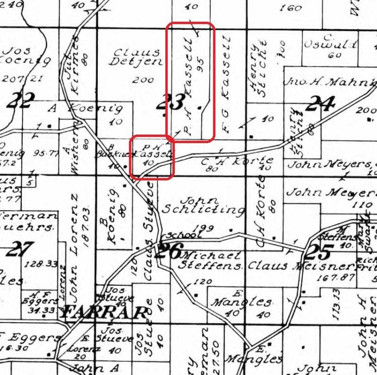 Phillip Kassel land map 1915