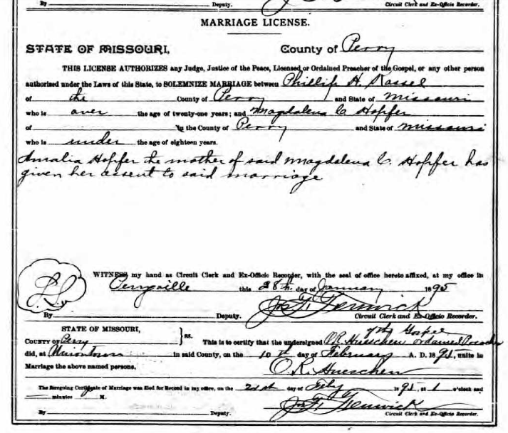 Phillip Kassel Magdalena Hopfer marriage license
