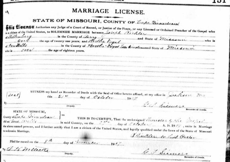 Richter Vogel marriage license Cape Girardeau County