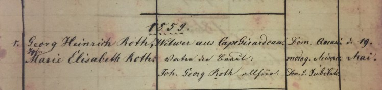 Roth Roth marriage record 1859 Concordia Frohna MO