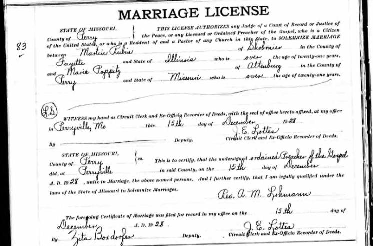 Rubin Poppitz marriage license