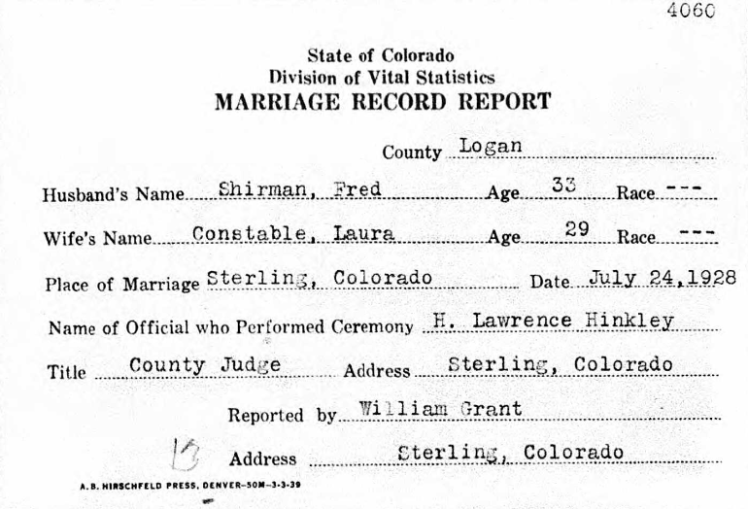 Schirmer Constable marriage record CO