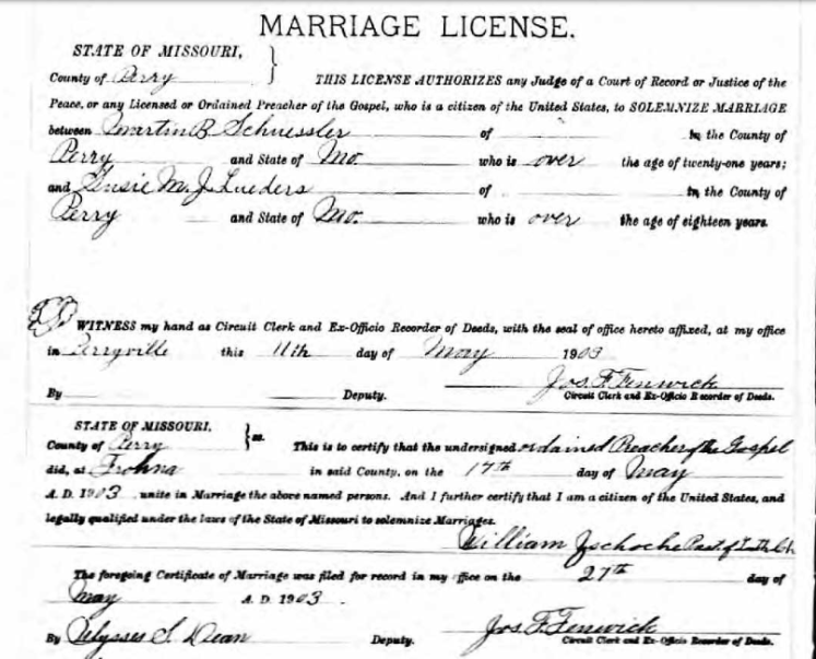 Schuessler Lueders marriage license