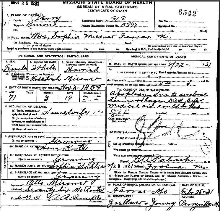 Sophia Miesner death certificate