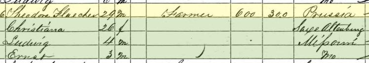 Theodore Fleischer 1860 census Brazeau Township MO