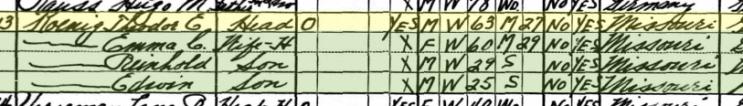 Theodore Koenig 1930 census Salem Farrar MO
