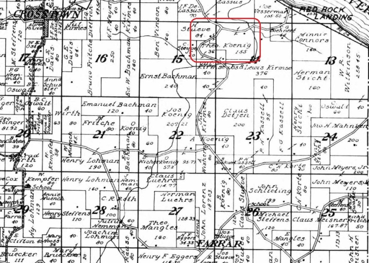 Theodore Koenig land map 1915
