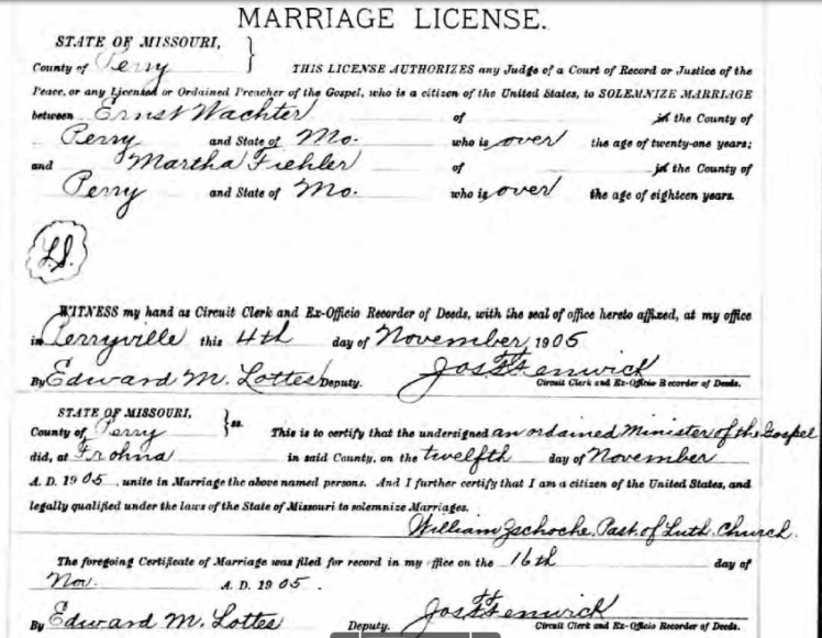 Wachter Fiehler marriage license