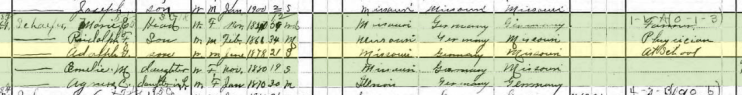 Adolph Schaefer 1900 census Apple Creek Township MO