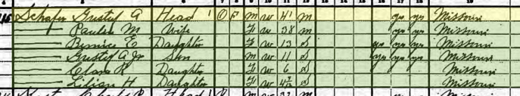 Adolph Schaefer 1920 census Apple Creek Township MO