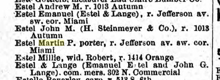 Estel names 1877 St. Louis city directory
