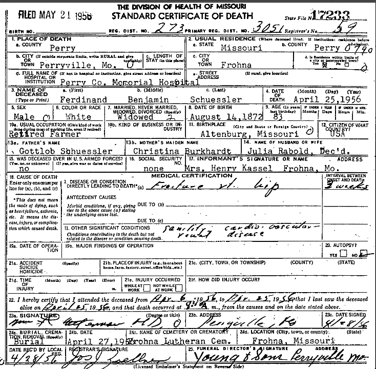 Ferdinand Schuessler death certificate