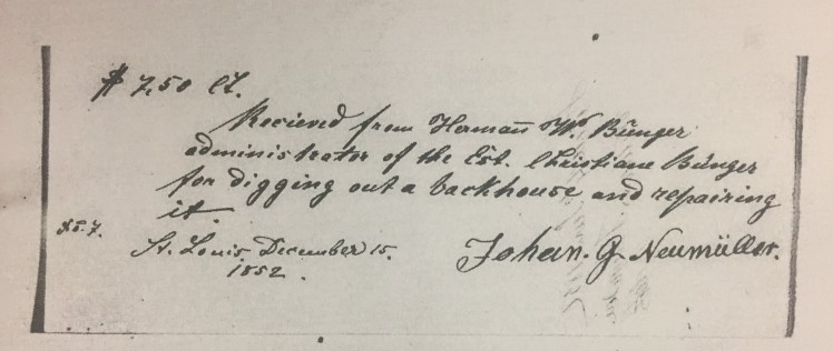 Gotthold Neumueller receipt for digging backhouse Christiane Buenger