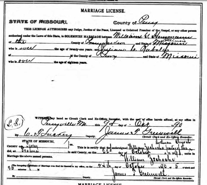 Hemmann Rabold marriage license