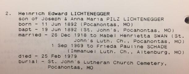 Henry Lichtenegger information St. John Pocahontas MO