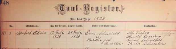 Herb Schmidt baptism record St. Paul's Wittenberg MO