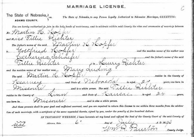Hopfer Richter marriage license