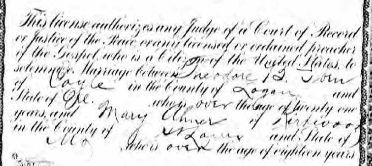 Iben Ahner marriage license enlarged Kirkwood MO