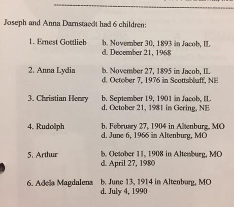 Joseph and Anna Darnstaedt list of children
