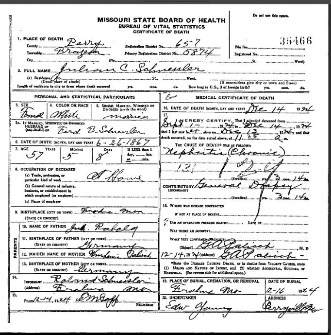 Juliane Schuessler death certificate
