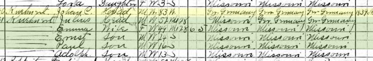 Julius Kuehnert 1910 census Brazeau Township MO