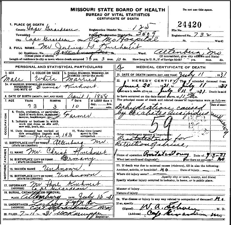 Julius Kuehnert death certificate