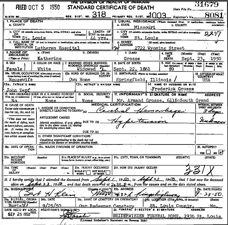 Katherine Grosse death certificate