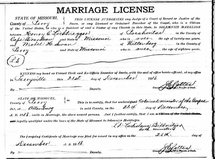Lichtenegger Swan marriage license