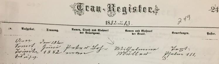 Lohmann Mueller marriage record Trinity Altenburg MO